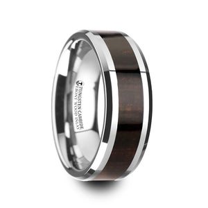 ebony wood inlaid tungsten carbide ring with beveled edges