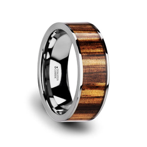 8 mm flat tungsten carbide ring with polished edges and a zebra wood inlay
