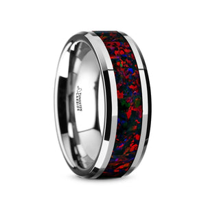 8 mm tungsten wedding band with a colorful opal inlay and beveled edges