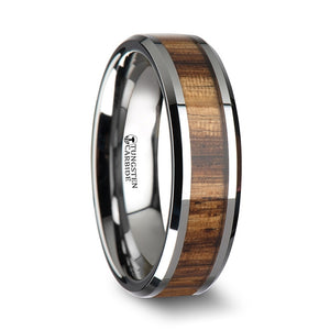 8 mm tungsten carbide ring with beveled edges and a zebra wood inlay