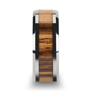 5 mm tungsten carbide ring with beveled edges and a zebra wood inlay