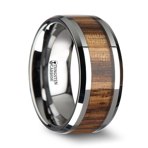 10 mm tungsten carbide ring with beveled edges and a zebra wood inlay