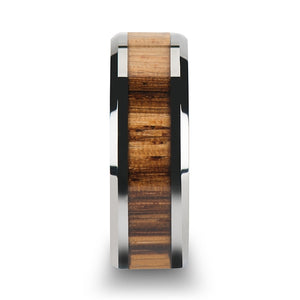 6 mm tungsten carbide ring with beveled edges and a zebra wood inlay