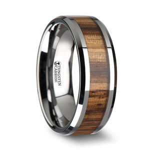 7 mm tungsten carbide ring with beveled edges and a zebra wood inlay
