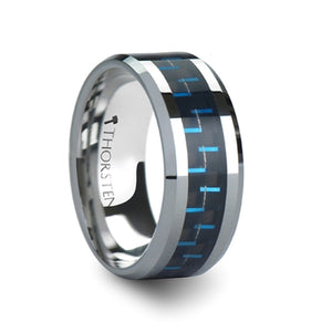 10 mm black and blue carbon fiber inlaid tungsten ring