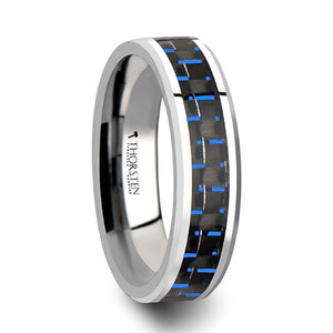 4 mm black and blue carbon fiber inlaid tungsten ring