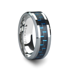 8 mm black and blue carbon fiber inlaid tungsten ring