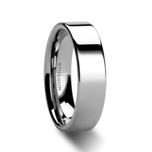 6 mm polished finish flat style men's titanium wedding ring