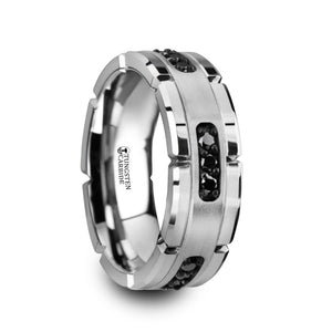 8 mm grooved tungsten ring with a silver inlay and black diamonds