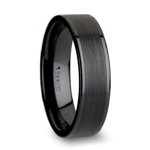 4 mm black ceramic wedding band with polished edges and a brushed center