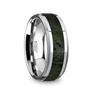 8 mm tungsten ring with beveled edges and a dark green dinosaur bone inlay