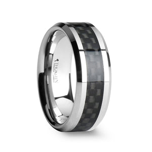 8 mm black carbon fiber inlay tungsten carbide wedding band