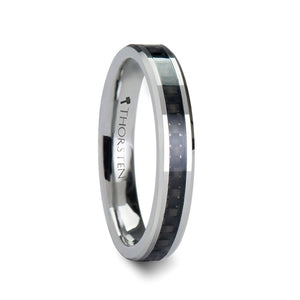 6 mm black carbon fiber inlay tungsten carbide wedding band