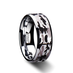 tungsten carbide ring with a black and gray camo design and beveled edges