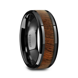 8 mm black titanium ring with a walnut wood inlay and polished beveled edges