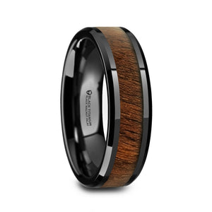 4 mm black titanium ring with a walnut wood inlay and polished beveled edges