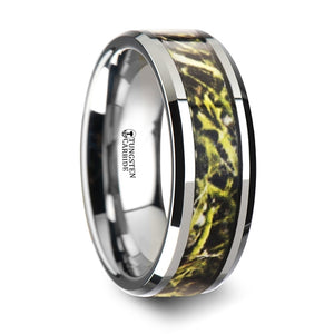 8 mm tungsten carbide wedding band with a green marsh camo style inlay