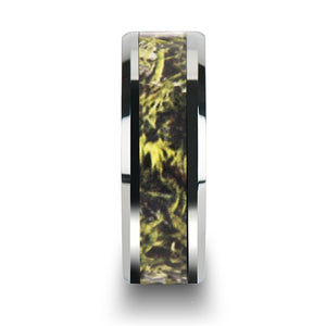 6 mm tungsten carbide wedding band with a green marsh camo style inlay
