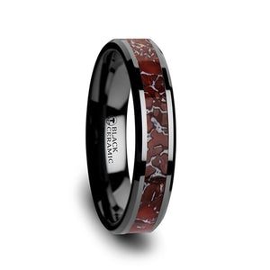 4 mm black ceramic men's ring with a red dinosaur bone inlay and beveled edges
