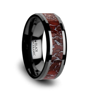 8 mm black ceramic men's ring with a red dinosaur bone inlay and beveled edges