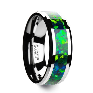 8 mm tungsten ring with beveled edges and a bright green/blue opal inlay