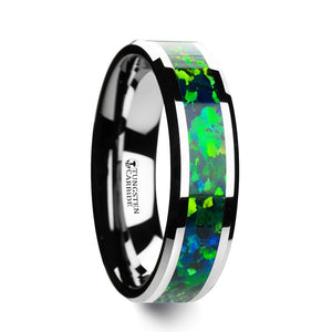 5 mm tungsten ring with beveled edges and a bright green/blue opal inlay