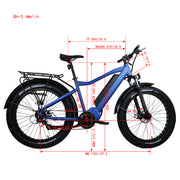 "E Bike 26"" Fat Tire Model FAT-HD BLUE 1000W 48V/15.6Ah 500C LCD Display"