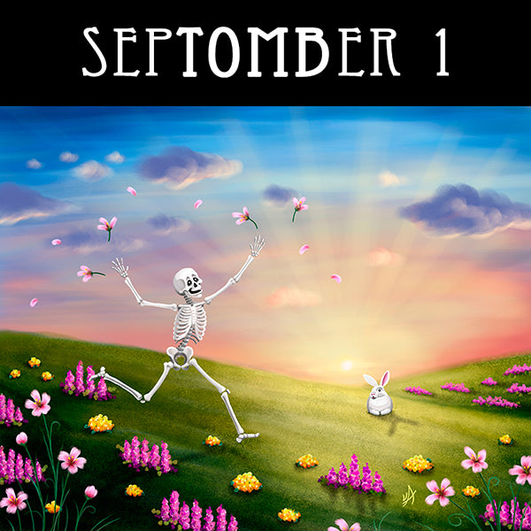 A happy skeleton runs through spring flowers at sunset while a bunny watches.