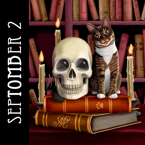 A cat and a skull sit together in the library having a most interesting conversation.
