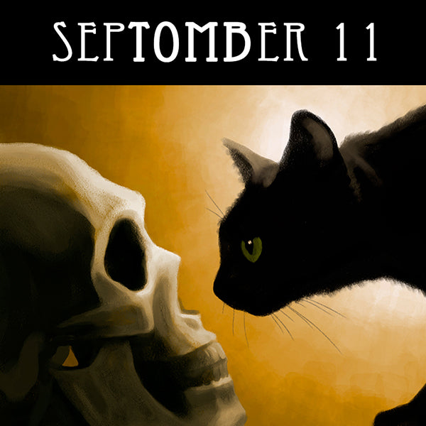 When your life is at an end, there's still time to make a friend.  #SepTOMBer #blackcat #catart #skullart #spookyseason #getreadyforhalloween #chaosincolor