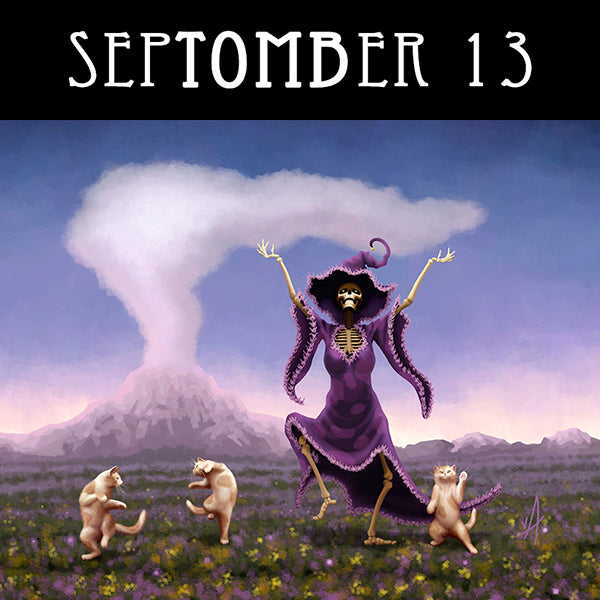 If you dare to take a chance, shake your bones and learn to dance.  #SepTOMBer #skeletonart #catart #purplewitch #spookyseason #getreadyforhalloween #chaosincolor
