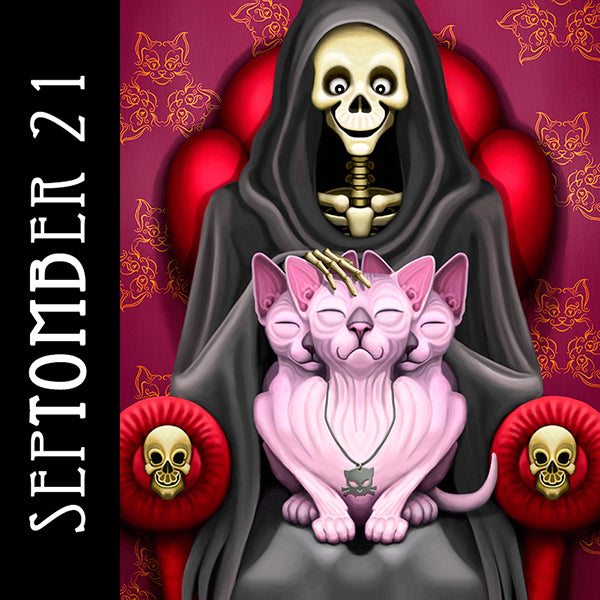 The surest way to cut your meds is to pet the little kitty heads.  #SepTOMBer #skeletonart #catart #sphynxcat #purrberus #spookyseason #getreadyforhalloween #chaosincolor