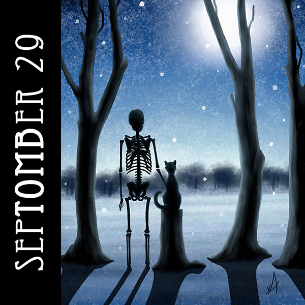 Only in winter can you come to know the soft and comforting silence of snow.   #SepTOMBer #catart #skeletonart #silhouette #winter #snow #fullmoon #spookyseason #getreadyforhalloween #chaosincolor