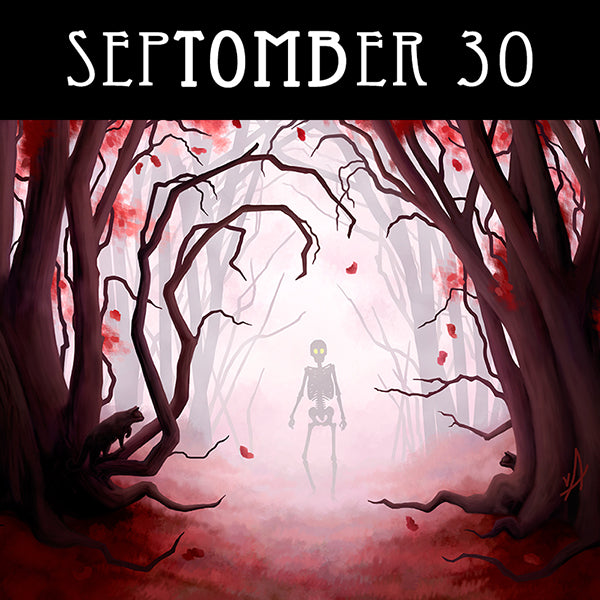 Despite the beauty, you must surely know there are places you just shouldn't go.  #SepTOMBer #catart #skeletonart #redforest #danger #mirkwood #spookyseason #getreadyforhalloween #chaosincolor