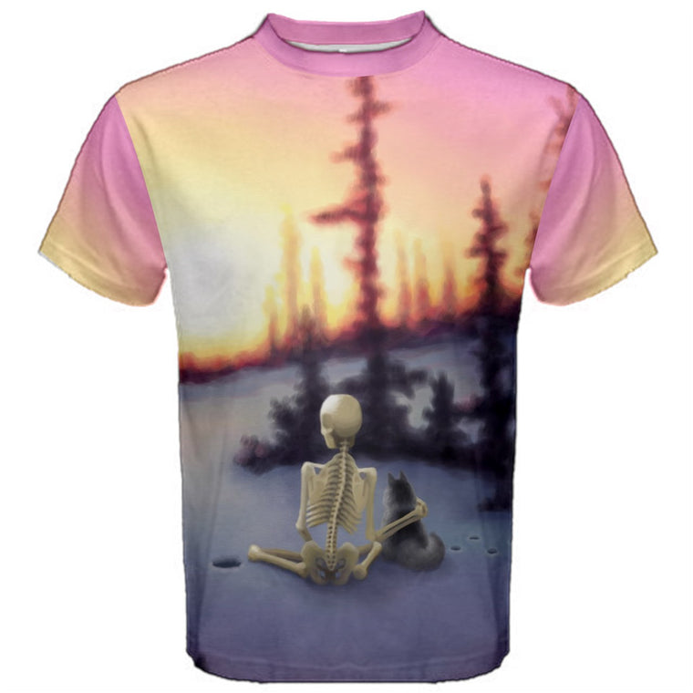 Churchill Sunset (Skeleton with Cat) Premium T-Shirt