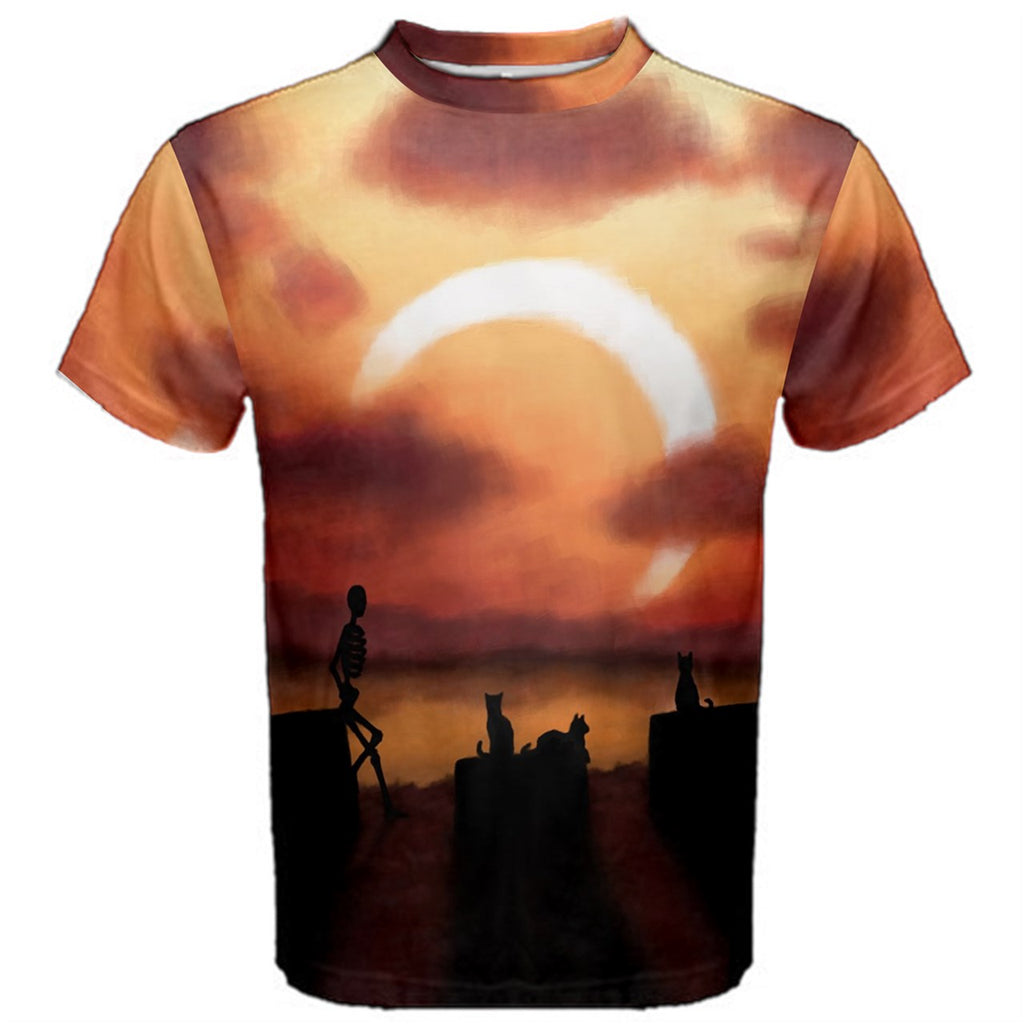 Eclipse at Sunset (Skeleton and Cats Watching Solar Eclipse) Premium T-Shirt