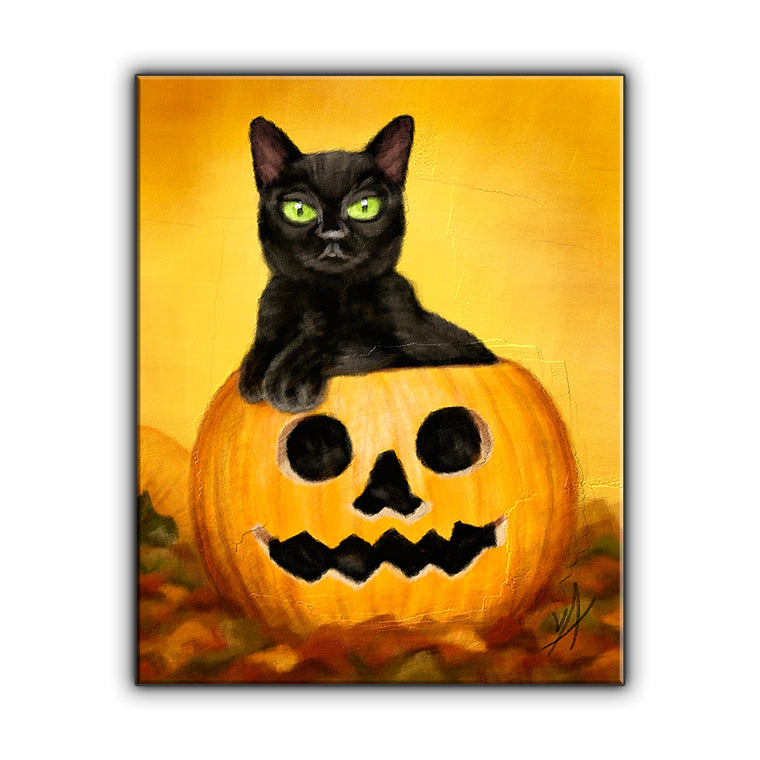 Black Cat in Jack-o-Lantern OOAK Wrapped Canvas Print