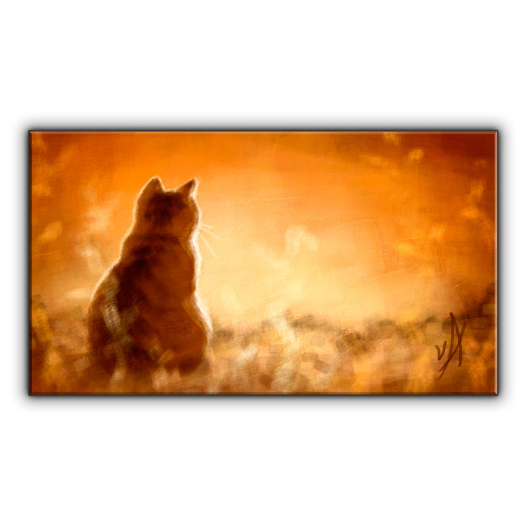 Cat in Autumn Field OOAK Wrapped Canvas Print