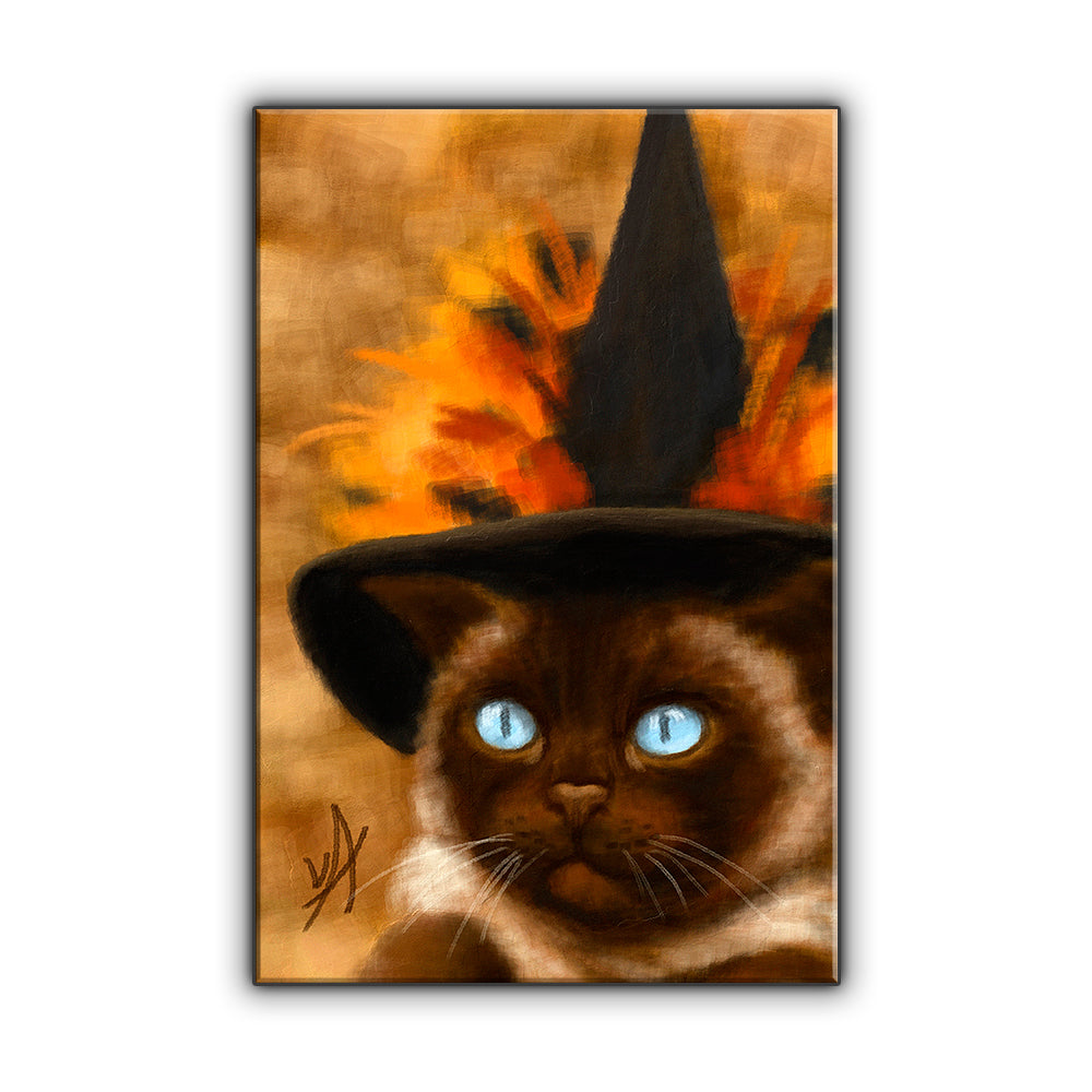Siamese Witch Cat OOAK Wrapped Canvas Print