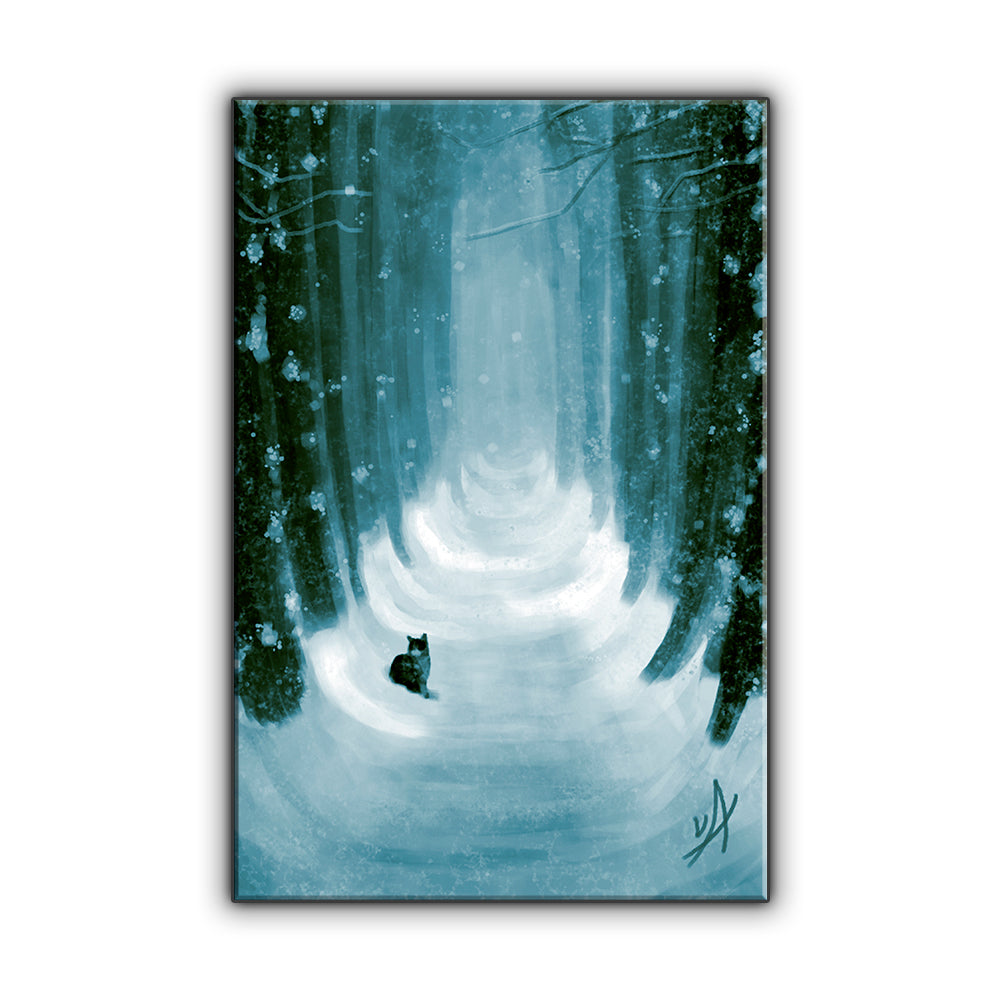 Winter Road OOAK Wrapped Canvas Print
