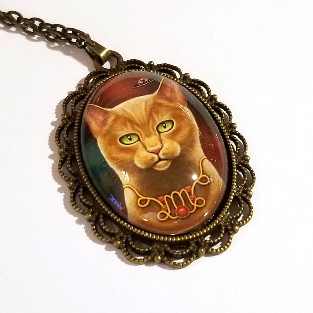 Zodiac Cat Capricorn with January Birthstone Large Oval Art Pendant on Chain