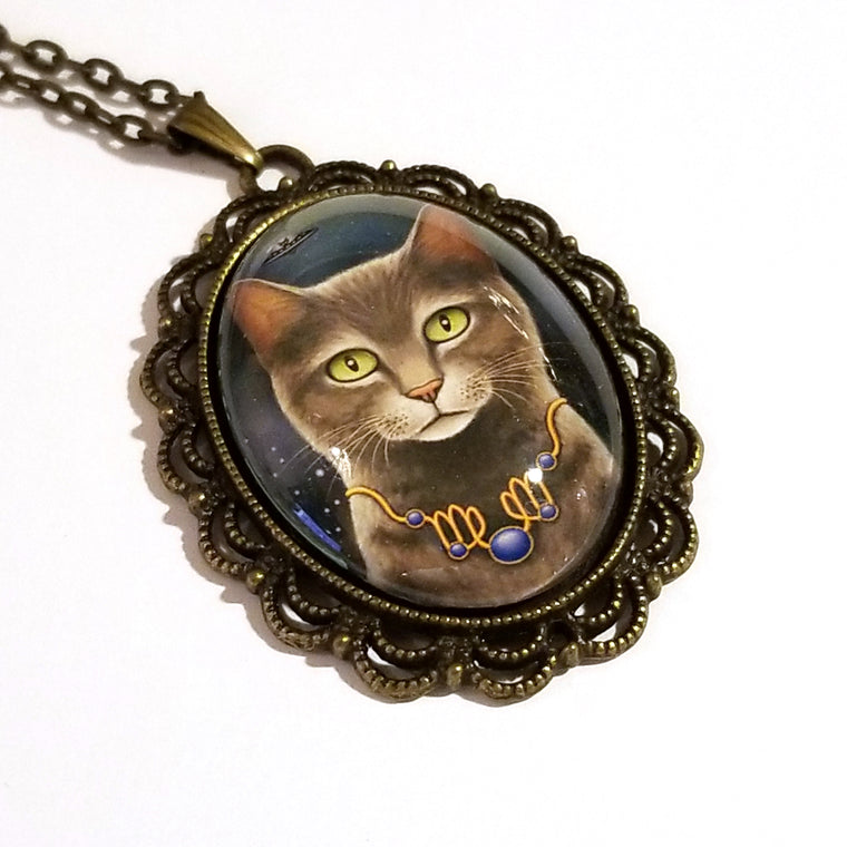 Zodiac Cat Virgo with September Birthstone Large Oval Art Pendant on Chain