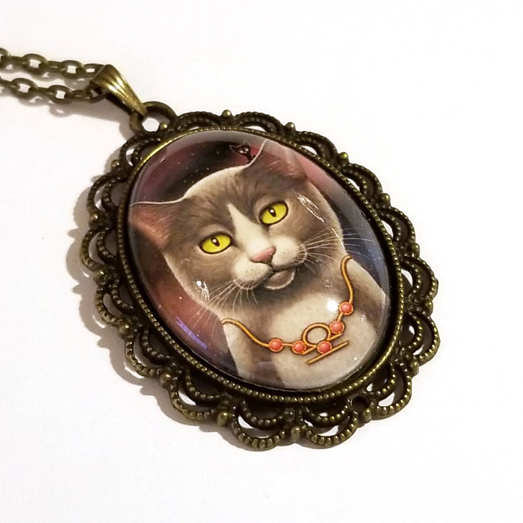 Zodiac Cat Libra with October Birthstone Large Oval Art Pendant on Chain