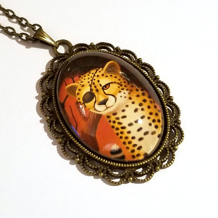 One-Eyed Cheetah Wearing an Eye Patch Large Oval Art Pendant on Chain