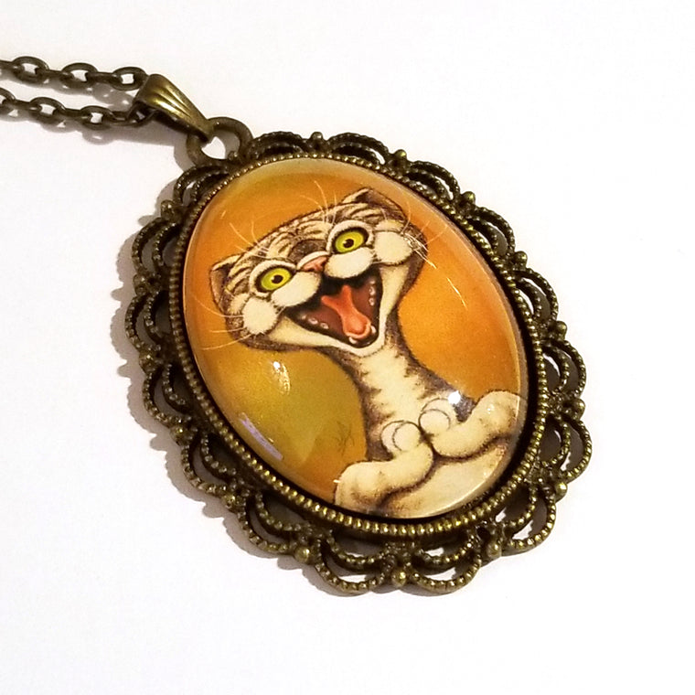 Happy Cat Large Oval Art Pendant on Chain
