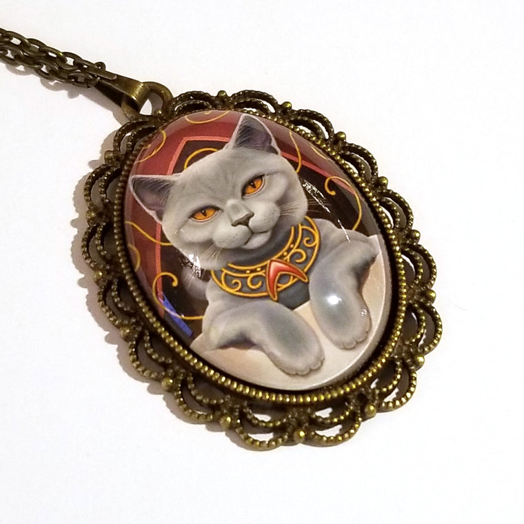 Earl Grey Cat in a Teacup Large Oval Art Pendant on Chain