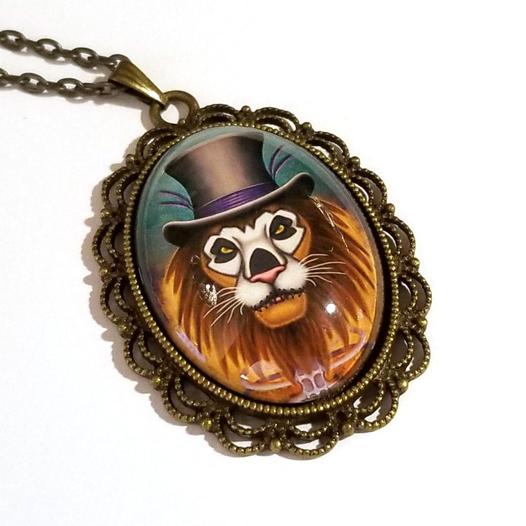 New Orleans Voodoo Lion Large Oval Art Pendant on Chain