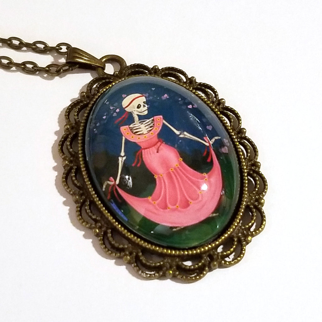 Dancing Valentine Skeleton Large Oval Art Pendant on Chain