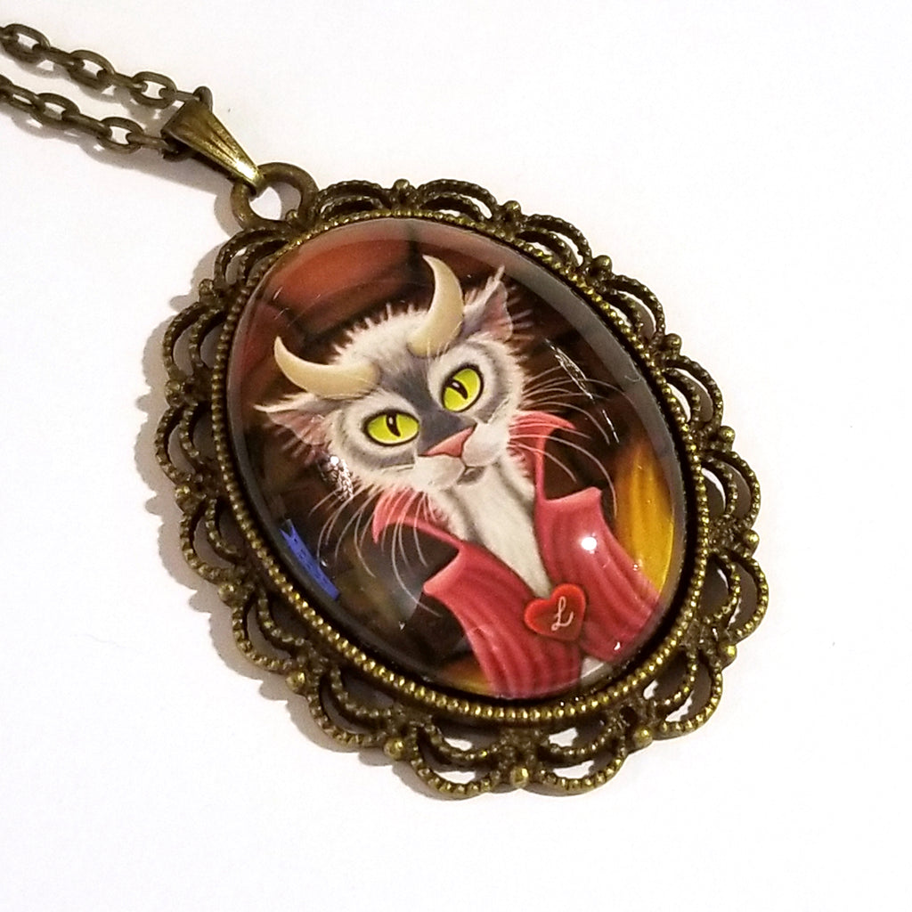 Lucipurr Cat with Horns Large Oval Art Pendant on Chain