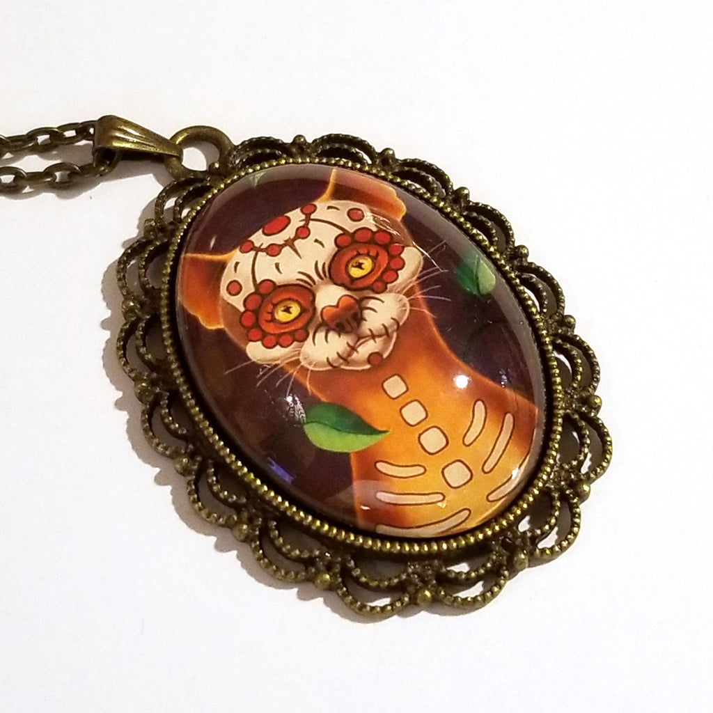 Dulce Gato Day of the Dead Cat Large Oval Art Pendant on Chain